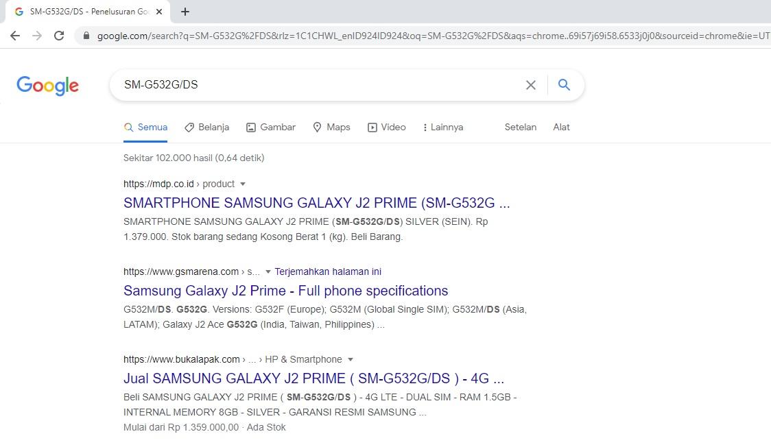 1. Mengetahui Tipe Ponsel Lewat Google