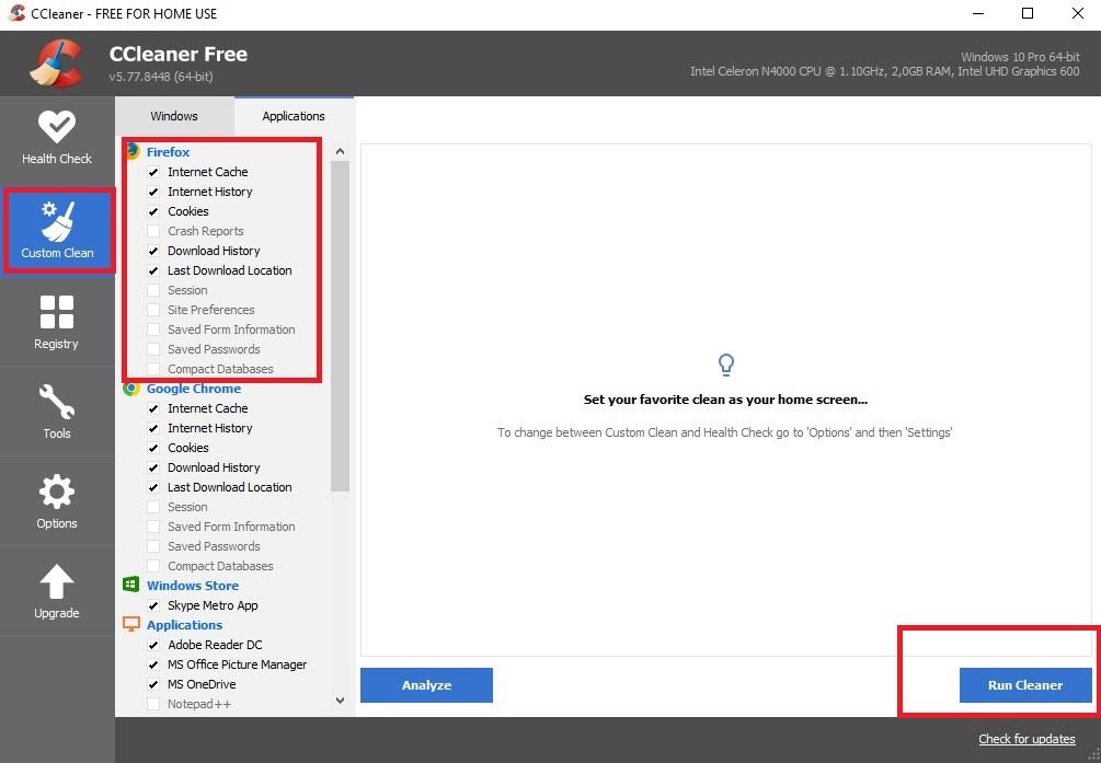 6. Piliha Custom Clean Aplikasi