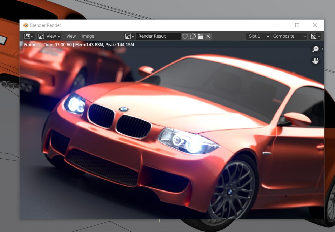 Blender Car Demo CPU Render Image 7 menit
