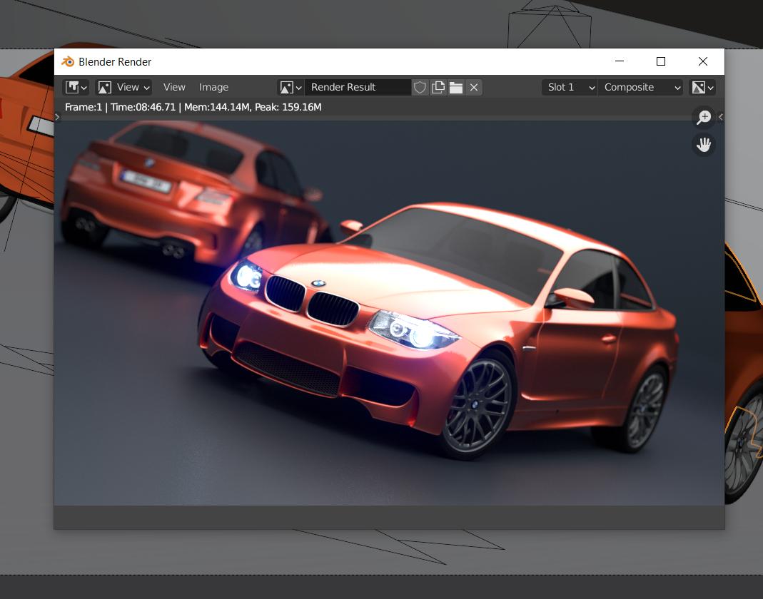Blender Car Demo GPU Render Image 8 menit 46 DETIK