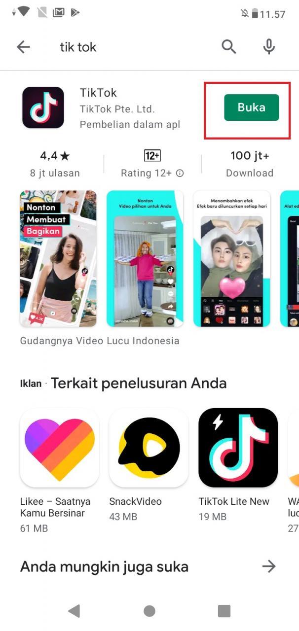 Buka Aplikasi Tiktok