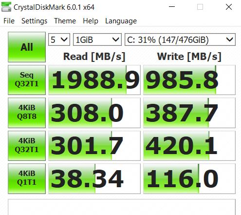 crystaldisk mark ASUS VivoBook Flip 14 TM420IA